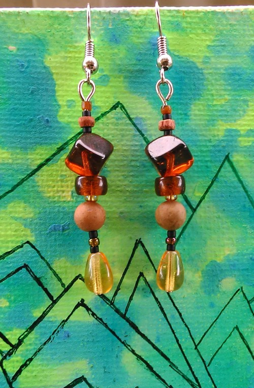 Wood and Stone Nature Inspired Earrings